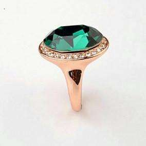 "Feshionn IOBI Rings ""High Society"" Classic Oval Emerald and Diamond Austrian Crystal Halo Cocktail Ring"