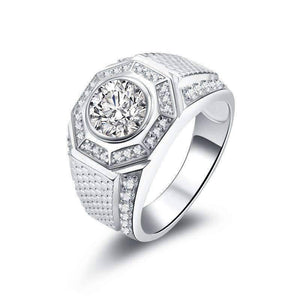 Feshionn IOBI Rings Horus 2CT Round Cut Pavé Octagon IOBI Cultured Diamond Men's Ring
