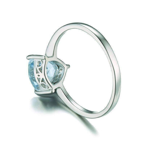 Feshionn IOBI Rings Ice Blue Genuine Topaz Trillion Cut 1.4 CT IOBI Precious Gems Ring