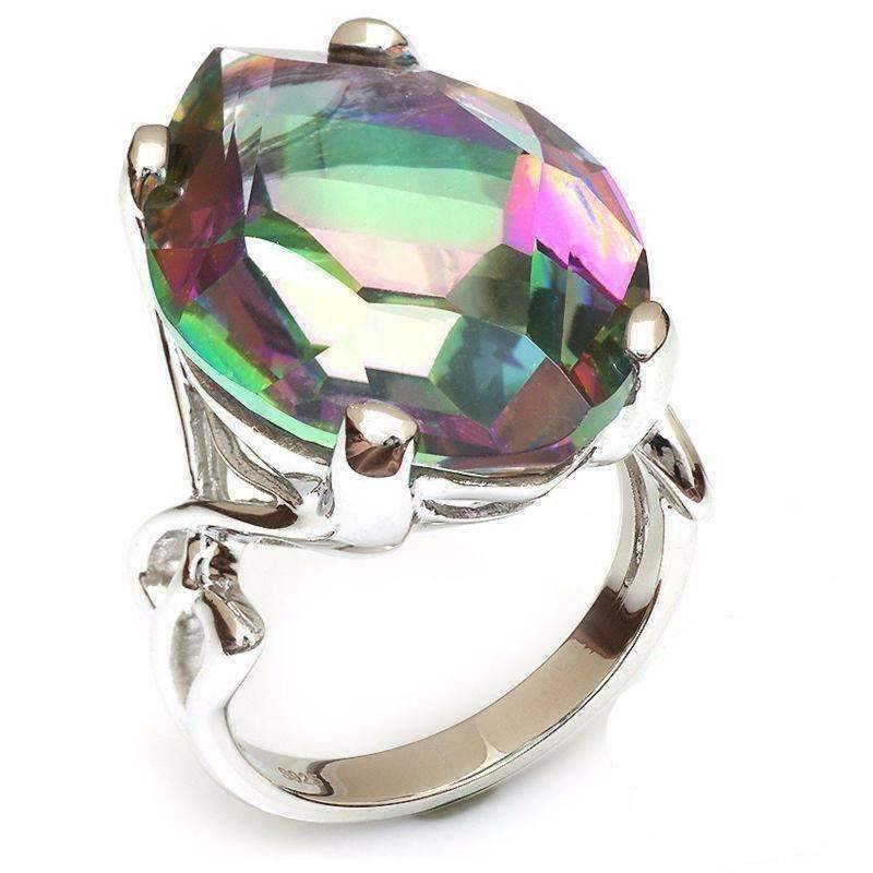 Feshionn IOBI Rings Rainbow / 6 Imperial Splendor Genuine Rainbow Fire Mystic Topaz 30CT IOBI Precious Gems Ring