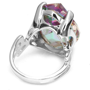 Feshionn IOBI Rings Imperial Splendor Genuine Rainbow Fire Mystic Topaz 30CT IOBI Precious Gems Ring