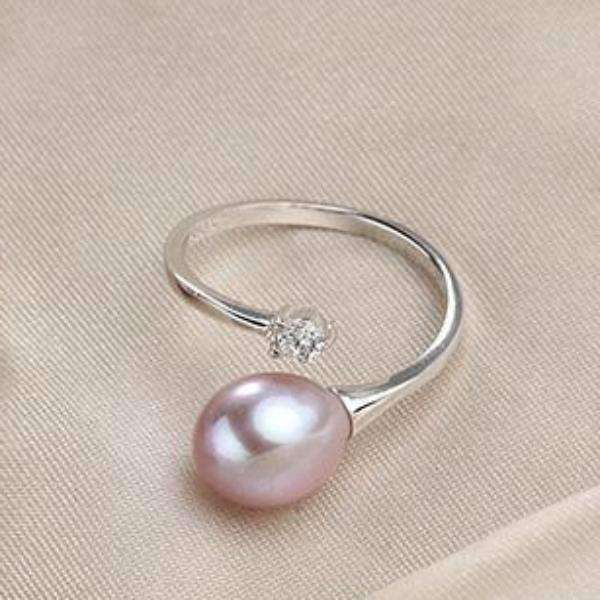 Feshionn IOBI Rings Lavender Genuine Freshwater Pearl & CZ Adjustable Bypass Ring