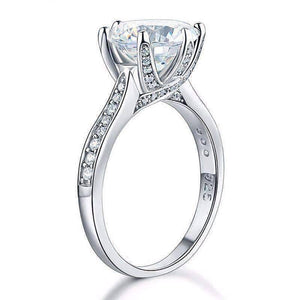 Feshionn IOBI Rings Lavish Fire 3CT Simulated White Sapphire Triple Pavé Trellis Solitaire Ring