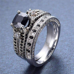 Midnight Rendezvous Black CZ Solitaire Engagement Ring Set