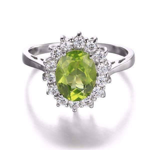 Feshionn IOBI Rings Milan Green Halo Oval Cut 2.5CT Genuine Peridot IOBI Precious Gems Ring