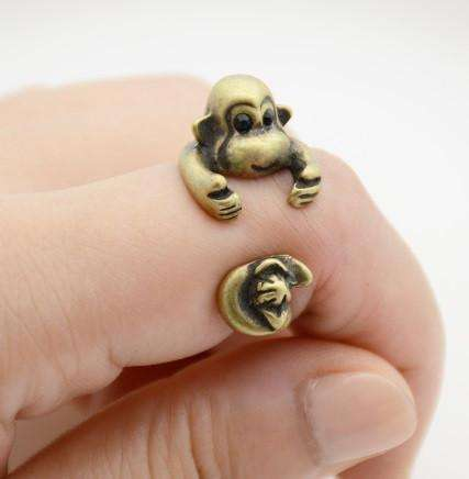 Feshionn IOBI Rings Bronze Monkey Business Adjustable Animal Wrap Ring