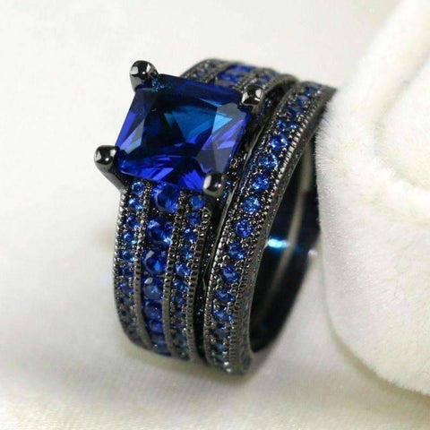 Feshionn IOBI Rings Moonlight Serenade Blue CZ and Black Gold Solitaire Engagement Ring Set