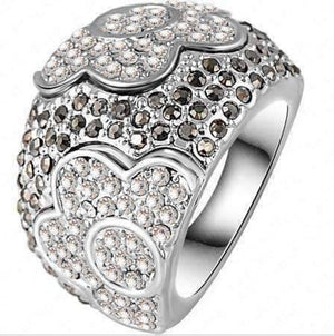"Feshionn IOBI Rings ""Moonlit Garden"" Floral Motif Micro Pavé CZ Dome Cocktail Ring"