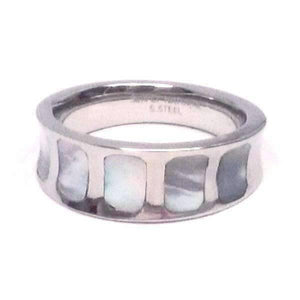 Feshionn IOBI Rings Mother of Pearl Shell Inlaid Stainless Steel Band Ring
