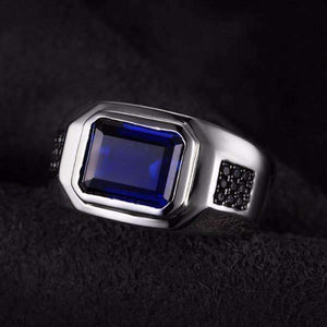 Feshionn IOBI Rings Octavius 4.3CT Emerald Cut Swiss Blue Sapphire IOBI Precious Gems Men's Ring