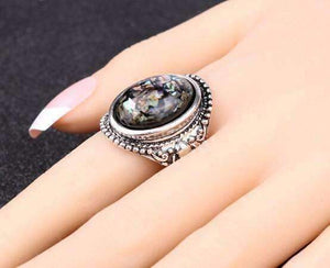 Feshionn IOBI Rings ON SALE - Abalone Cabochon Vintage Style Silver Ring