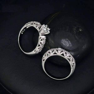 Feshionn IOBI Rings ON SALE - Art Deco Inspired Milgrain Filigree CZ Solitaire Engagement Ring and Band Set - Ring