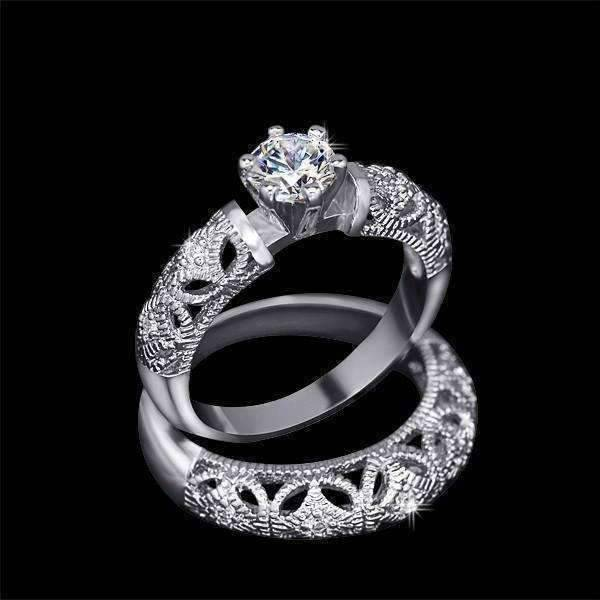 Feshionn IOBI Rings 5 / White Gold ON SALE - Art Deco Inspired Milgrain Filigree CZ Solitaire Engagement Ring and Band Set - Ring