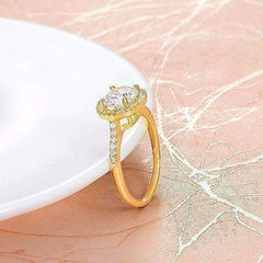 Bella Luna Round Halo 2 CT Austrian Crystal Gold Ring
