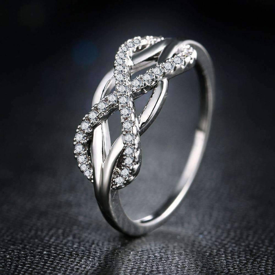 Feshionn IOBI Rings 5.75 / White Gold ON SALE - Continuum Petite Pavé CZ Infinity Symbol Ring in White or Rose Gold