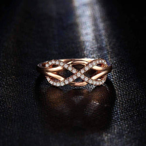 Feshionn IOBI Rings ON SALE - Continuum Petite Pavé CZ Infinity Symbol Ring in White or Rose Gold