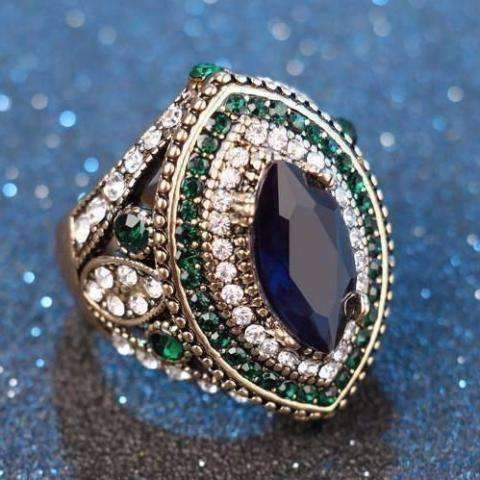 Feshionn IOBI Rings 7 / Emerald ON SALE Esmeralda Oversize Sapphire Blue and Crystal Antique Style Cocktail Ring