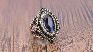 Feshionn IOBI Rings ON SALE Esmeralda Oversize Sapphire Blue and Crystal Antique Style Cocktail Ring