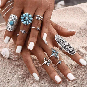 Feshionn IOBI Rings ON SALE - South by Southwest Boho Midi-Knuckle Rings Set of 9