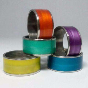Feshionn IOBI Rings Orange / 6 Glossy Colored Enamel Wide Band Ring 10mm ~ 5 Funky Colors to Choose