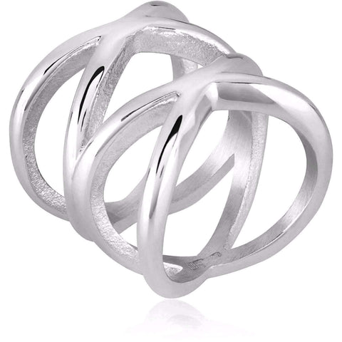 Feshionn IOBI Rings Orbit Stainless Steel Symmetrical Criss-Cross Ring For Men or Women