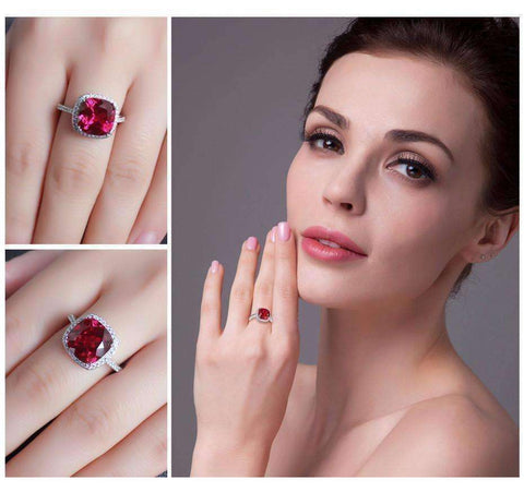 Feshionn IOBI Rings Passion Rubellite Cushion Cut 6.5CTW IOBI Precious Gems Halo Ring