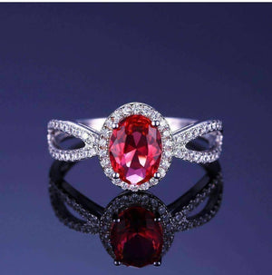 Feshionn IOBI Rings Pink Tourmaline Oval Cut 1.7CT IOBI Precious Gems Halo Ring