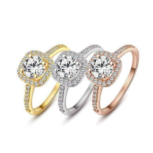 Feshionn IOBI Rings Platinum / 5 ON SALE - Bella Vita Halo 2 CT Round Austrian Crystal Ring ~ In Three Colors