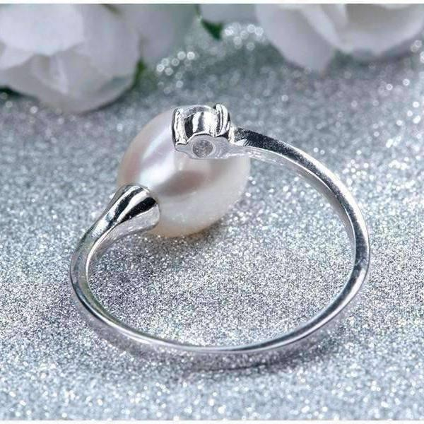 Feshionn IOBI Rings Pure White Genuine Freshwater Pearl & CZ Adjustable Bypass Ring