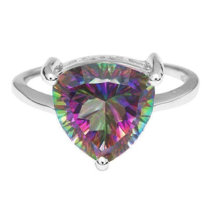 Feshionn IOBI Rings Rainbow Fire Genuine Mystic Topaz Trillion Cut 3CT IOBI Precious Gems Solitaire Ring