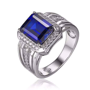 Feshionn IOBI Rings Reginald 4.3CT Emerald Cut Swiss Blue Sapphire IOBI Precious Gems Ring for Women or Men