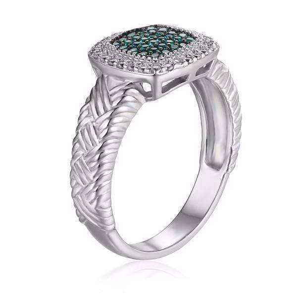 Feshionn IOBI Rings 5 Renaissance Pavé Nano Simulated Emerald Halo IOBI Precious Gems Ring