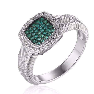 Feshionn IOBI Rings Renaissance Pavé Nano Simulated Emerald Halo IOBI Precious Gems Ring