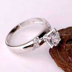 Ribbon Inlaid .75ct Swiss CZ Solitaire Engagement Ring