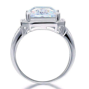 Feshionn IOBI Rings Romantic Fire 8.5CT Emerald Cut Halo Ring