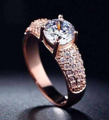 Feshionn IOBI Rings Rose Gold / 5 CLEARANCE - Bellazio 2.4 CT Simulated Diamond Pavé Ring ~ Platinum or Rose Gold