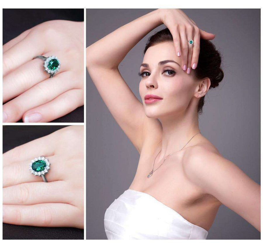 Feshionn IOBI Rings 6 / Emerald Halo Ring Russian Halo Oval Cut 2.5CT Nano Simulated Emerald IOBI Precious Gems Ring