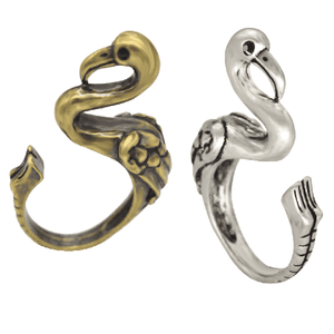 Feshionn IOBI Rings Silver Fantastic Flamingo Adjustable Animal Wrap Ring