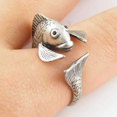 Feshionn IOBI Rings Silver Fish Friend Adjustable Animal Wrap Ring