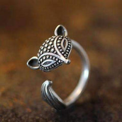 Feshionn IOBI Rings Silver Foxy Lady Adjustable Fox Animal Wrap Ring