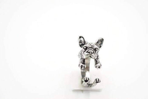 Feshionn IOBI Rings Silver Frenchy French Bulldog Adjustable Animal Wrap Ring