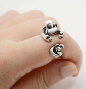 Feshionn IOBI Rings Silver Monkey Business Adjustable Animal Wrap Ring