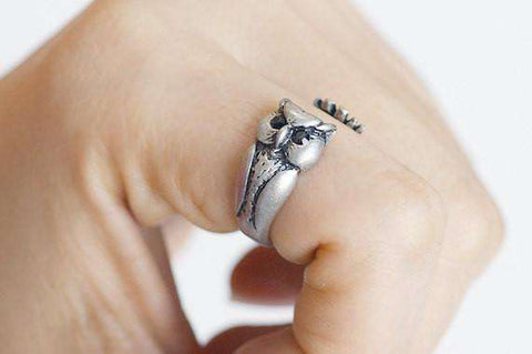 Feshionn IOBI Rings Silver Owl Adjustable Animal Wrap Ring