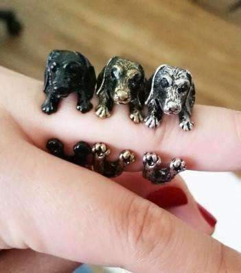 Feshionn IOBI Rings Silver Puppy Love Dachshund Dog Adjustable Animal Wrap Ring