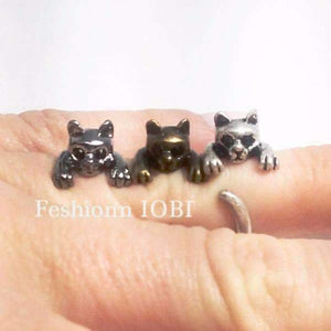 Feshionn IOBI Rings Silver Purr-fect Kitten Adjustable Animal Wrap Ring