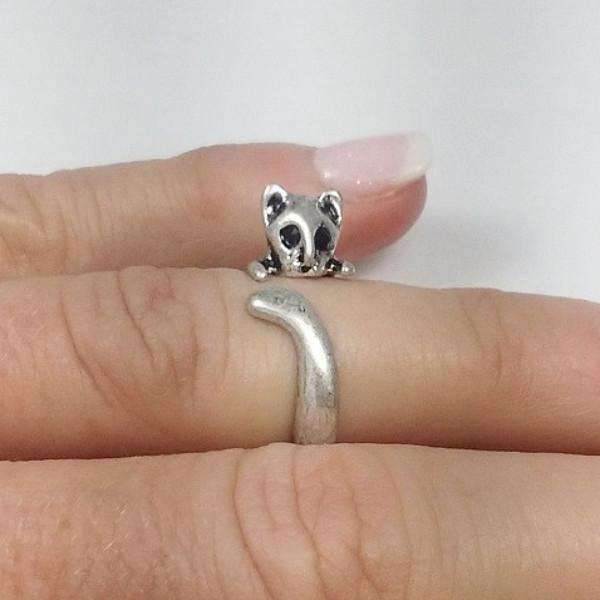 Feshionn IOBI Rings Silver Squirrel Adjustable Animal Wrap Ring