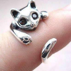 Feshionn IOBI Rings Silver Sweet Kitty Cat Wrap Around Animal Ring