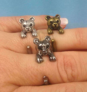 Feshionn IOBI Rings Silver Teddy Bear Adjustable Animal Wrap Ring