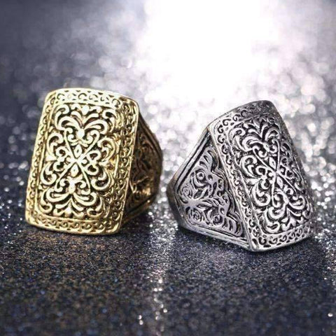 Feshionn IOBI Rings Silver Tone / 6.75 Medieval Era Patina Etched Cocktail Ring
