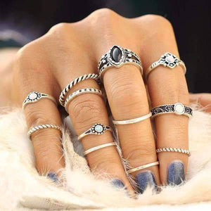 Feshionn IOBI Rings Silver Tone Desert Sky Boho Midi-Knuckle Rings Set of 12 - Silver or Gold